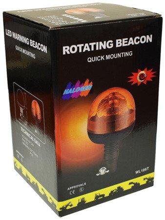 Lampa ostrzegawcza na trzpień 40 LED 12/24V pomarańczowa, E9 R10